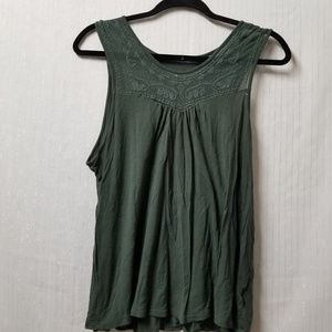 Merona Womens Forest Green Tank Top Lace Colllar